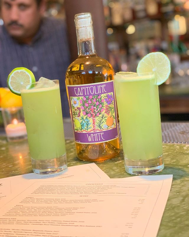 It's hot outside. Stay inside and drink this little refreshing beaut by our pal @dante_datta 👋 at the endlessly charming @eatatelle ☀️☀️☀️☀️☀️ 🌈 Green River ☀️Capitoline White ☀️Tequila ☀️Snap Peas ☀️Lime ☀️Tiki Bitters ☀️Seltzer