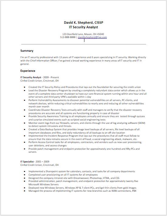 Resume Part 1
