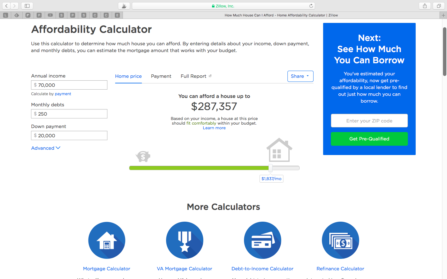 Zillow Mortgage Affordability Calculator
