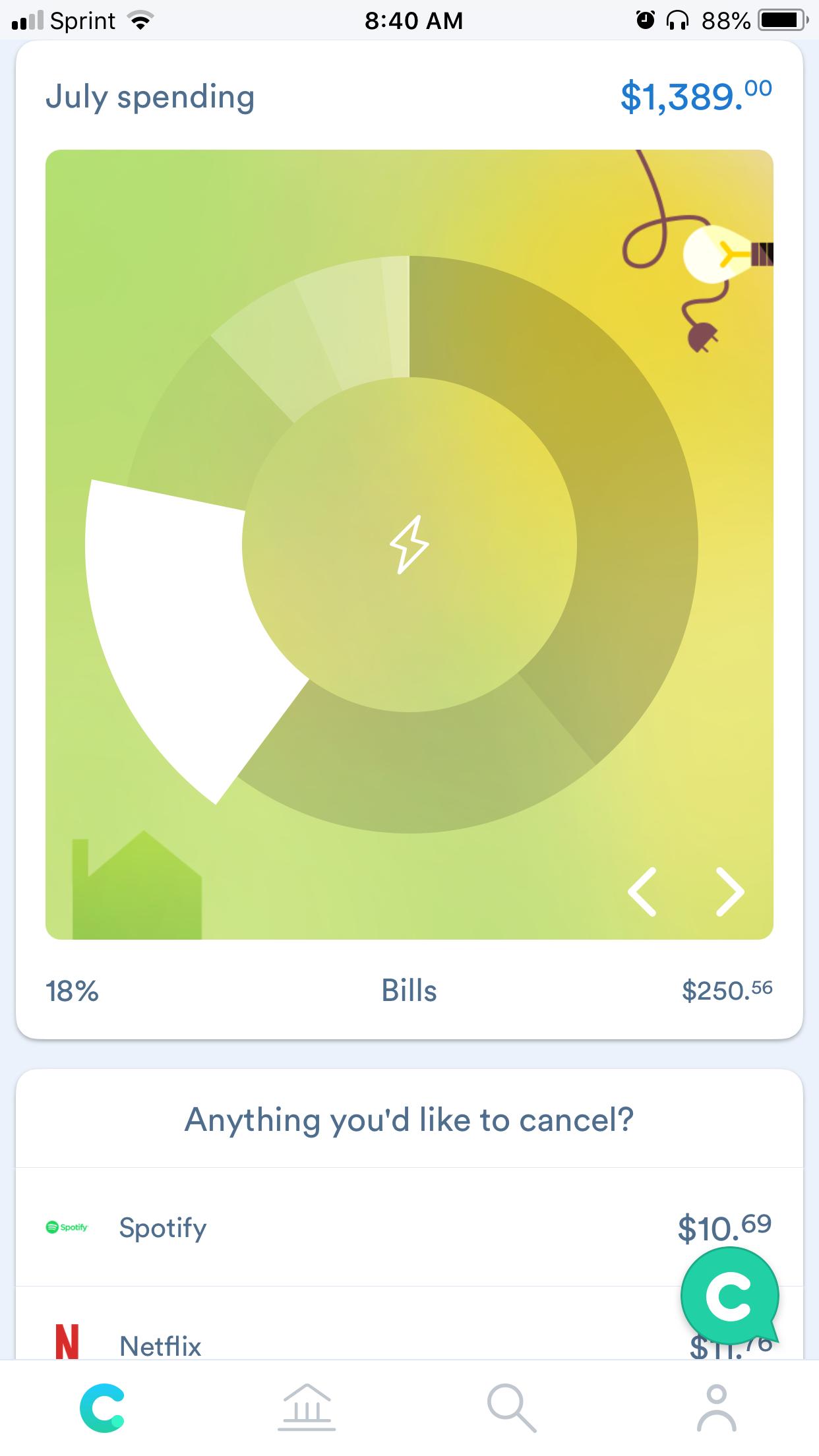 Clarity - Spending Categories Chart