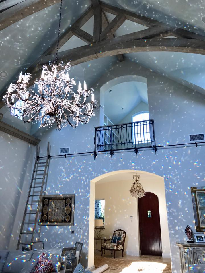 """""""A beautiful custom Italian chandelier plus just the right amount of evening sun... a STUNNING installation in a Naples home. Beautiful work from the Ciao Bella! Design team! """""""