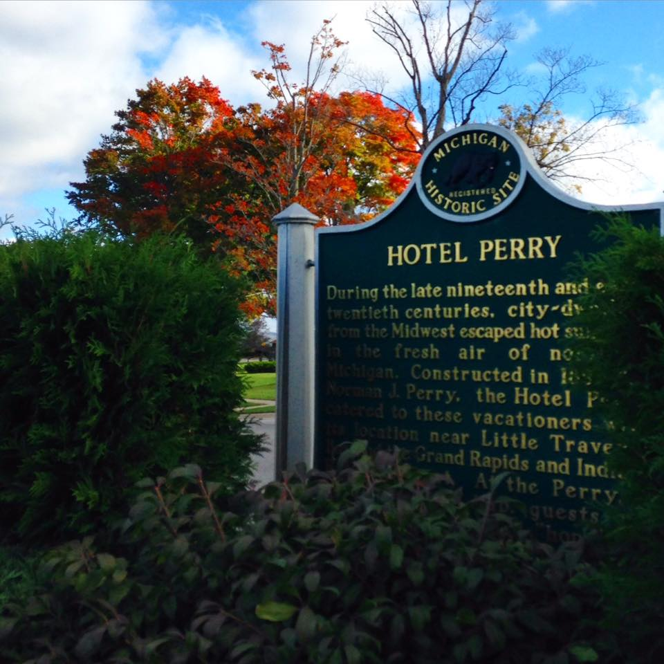 Downtown Petoskey, Michigan and the historic Perry Hotel
