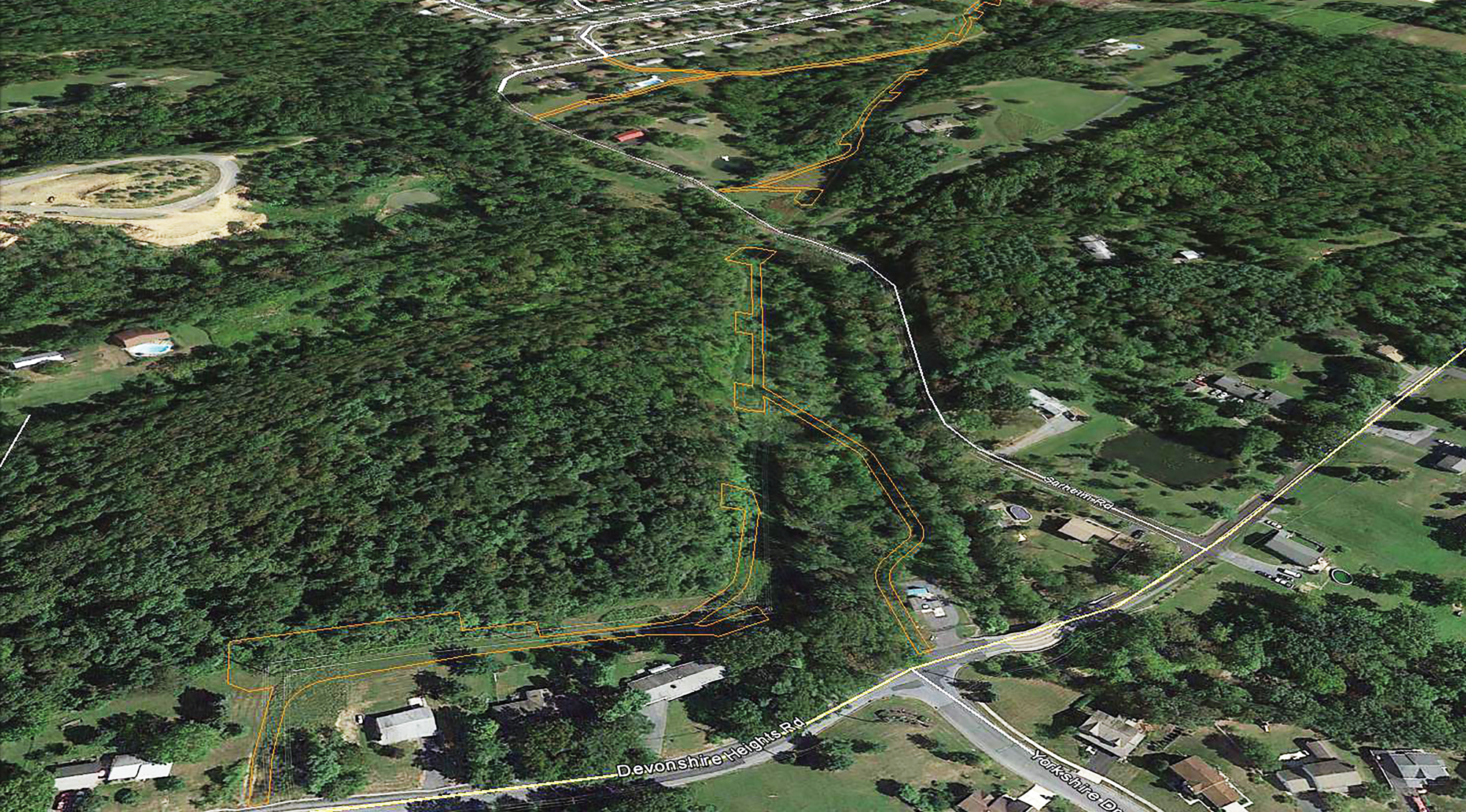 Birds-eye view and specs of a Woodland Design property