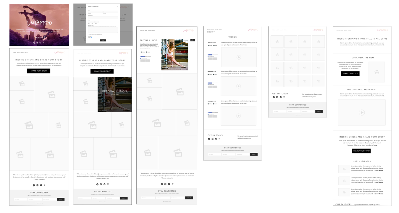 """Version 1 focused on having the """"stories"""" component as the main focal point of the site as well as an immediate call to action after entering the site. This version of wireframes utilizes existing social media API s' (Instagram gallery, and Facebook plugins) as a means to socialize the content, bringing traffic to their social platforms but also pinging back to the site itself, creating a content ecosystem between where Untapped housed there content and where its fans socialized it."""