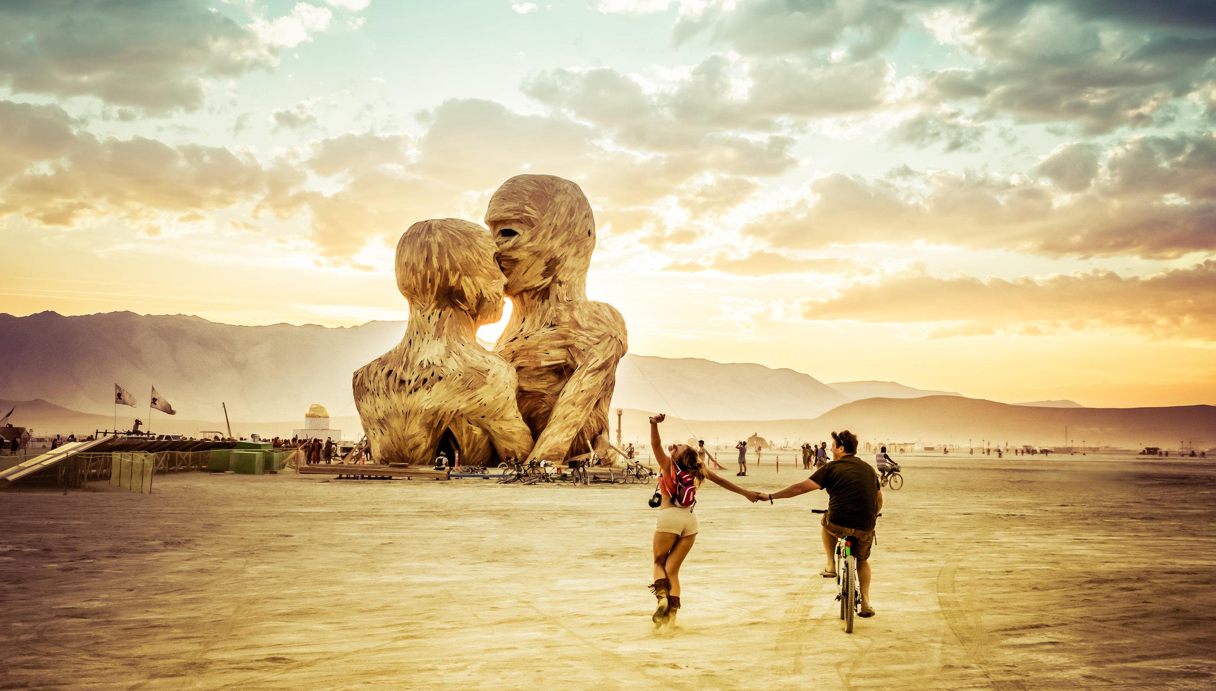 Photo of my wife and I headed towards Embrace at Burning Man 2014 courtesy    Trey Ratcliff   .