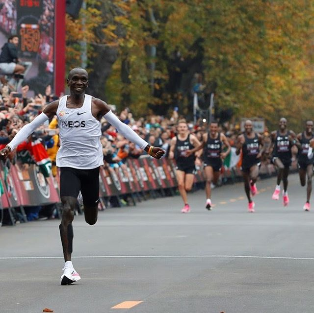 """""""Together, when we run, we can make this world a beautiful world."""" Who watched @kipchogeeliud make history by breaking the 2 hour Marathon barrier in Vienna?! 👀🏃🏿♂️🙌🏼 #nohumanislimited  Peep the pacesetters - some of the greatest distance runners of our time - who took a step out of the spotlight to assist in the achievement of this feat - #teamworkmakesthedreamwork ❤️"""