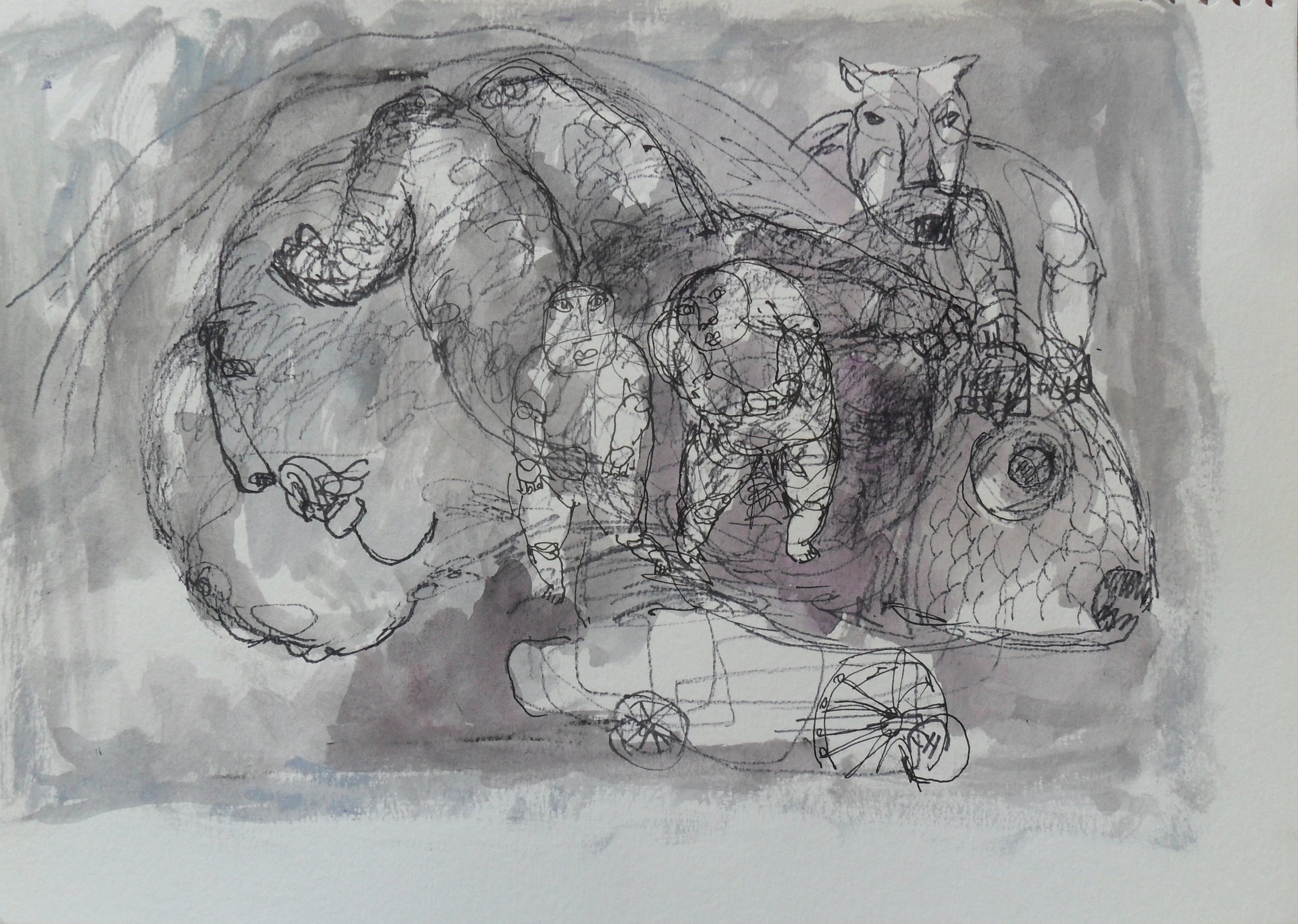 《现代罗汉图》#5纸本15x11英寸2010-2012.JPG