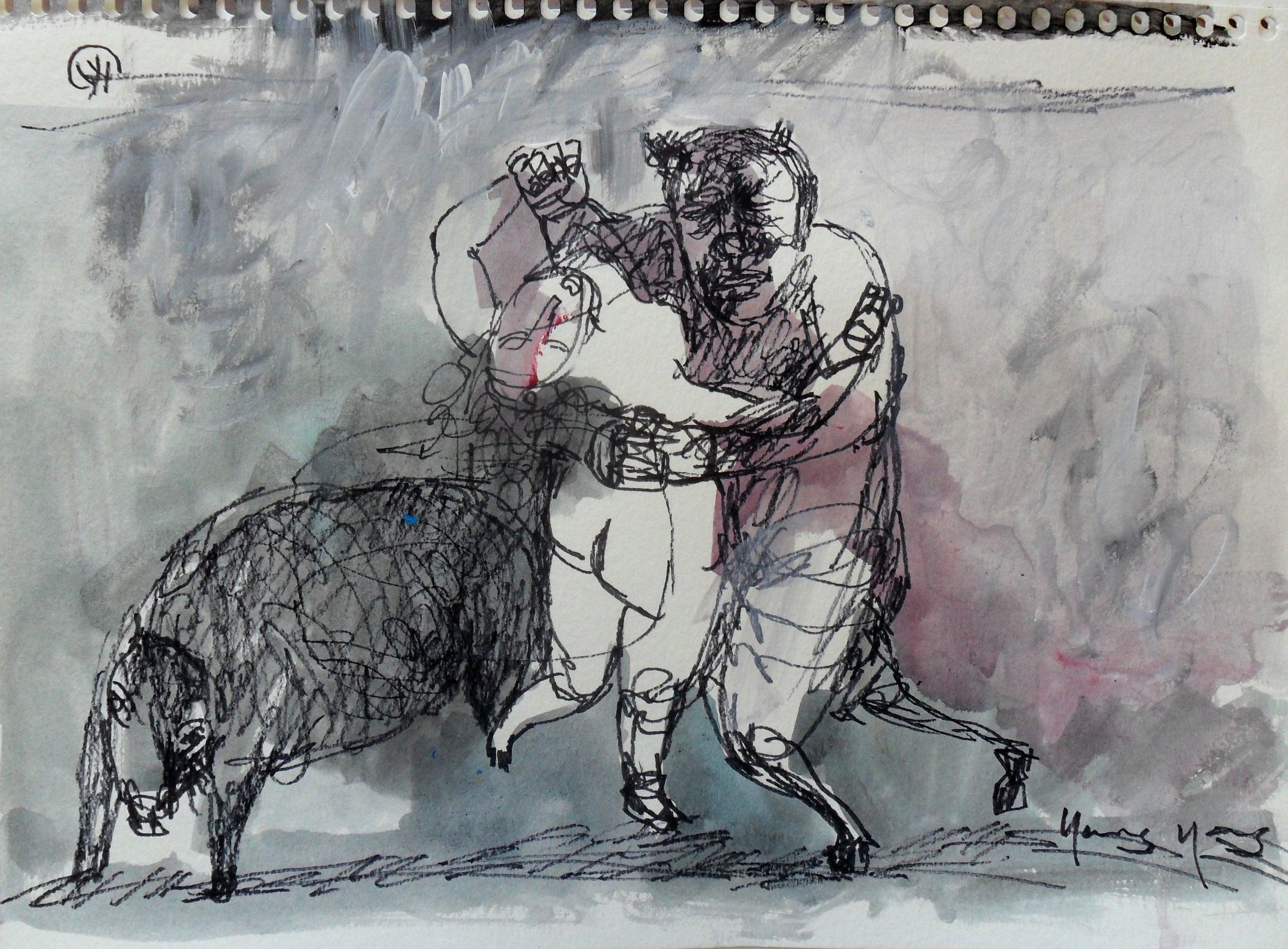 《现代罗汉图》#4纸本15x11英寸2010-2012.JPG