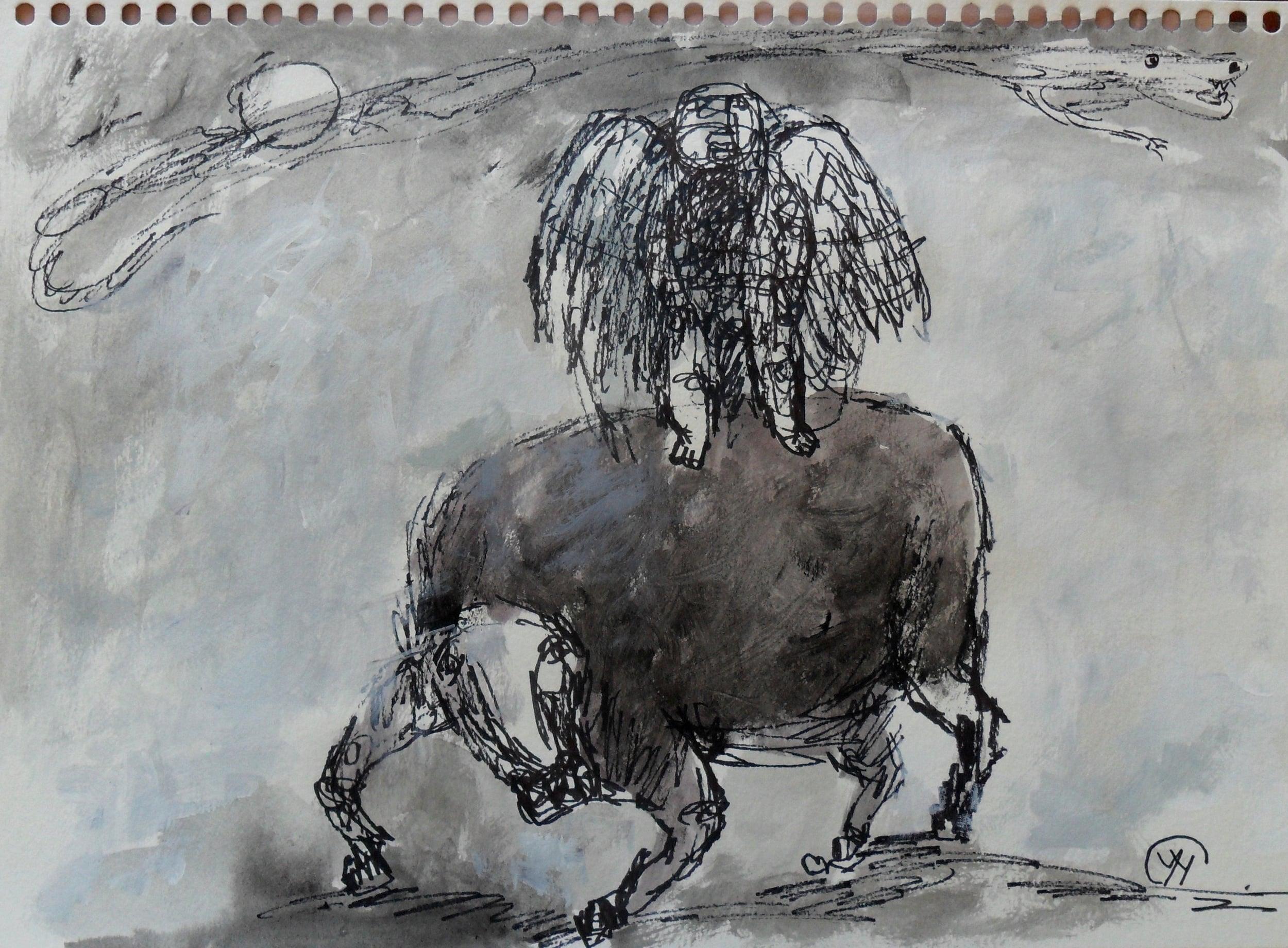 《现代罗汉图》#6纸本15x11英寸2010-2012.JPG