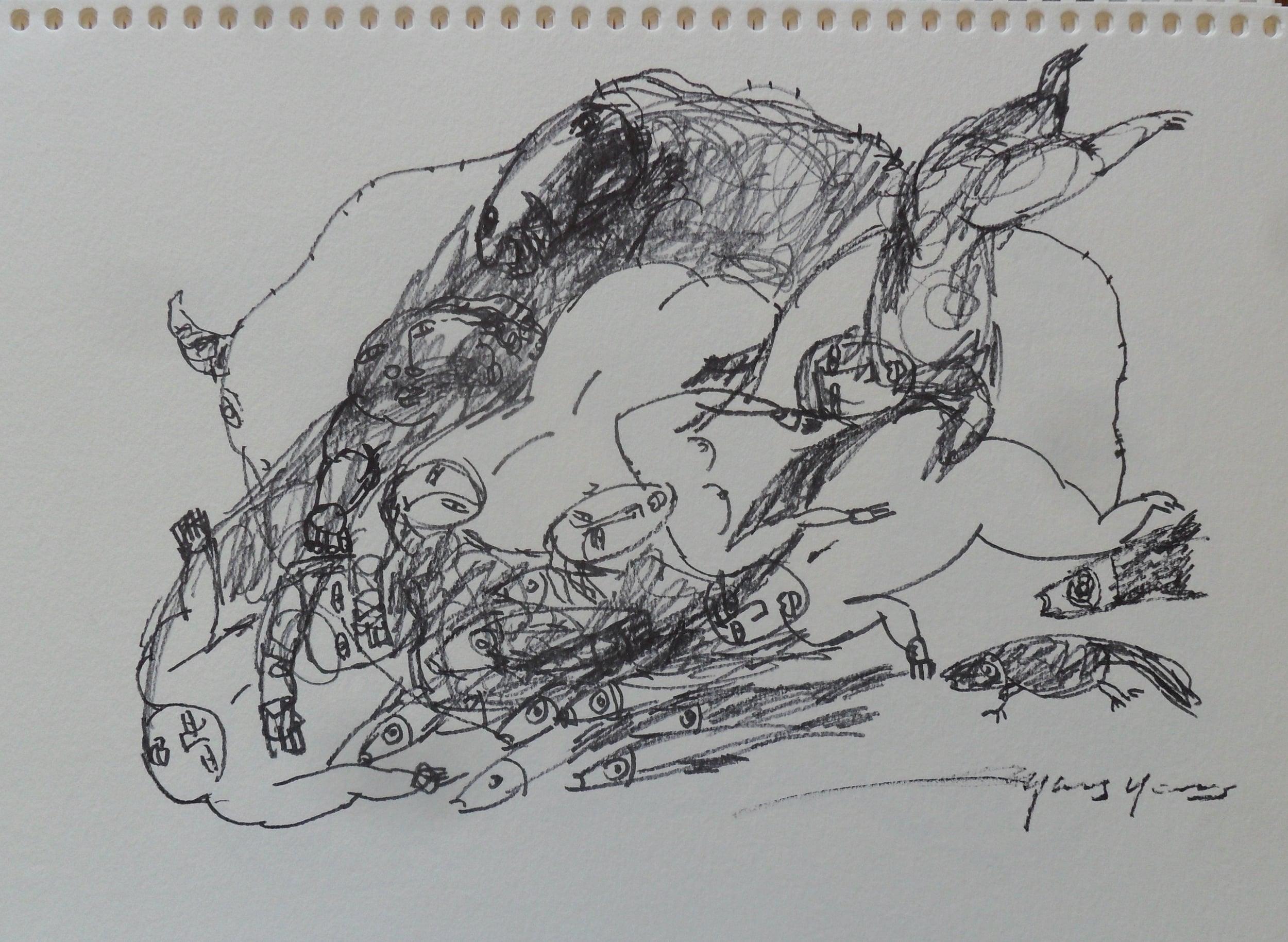 《现代罗汉图》#27纸本15x11英寸2010-2012.JPG