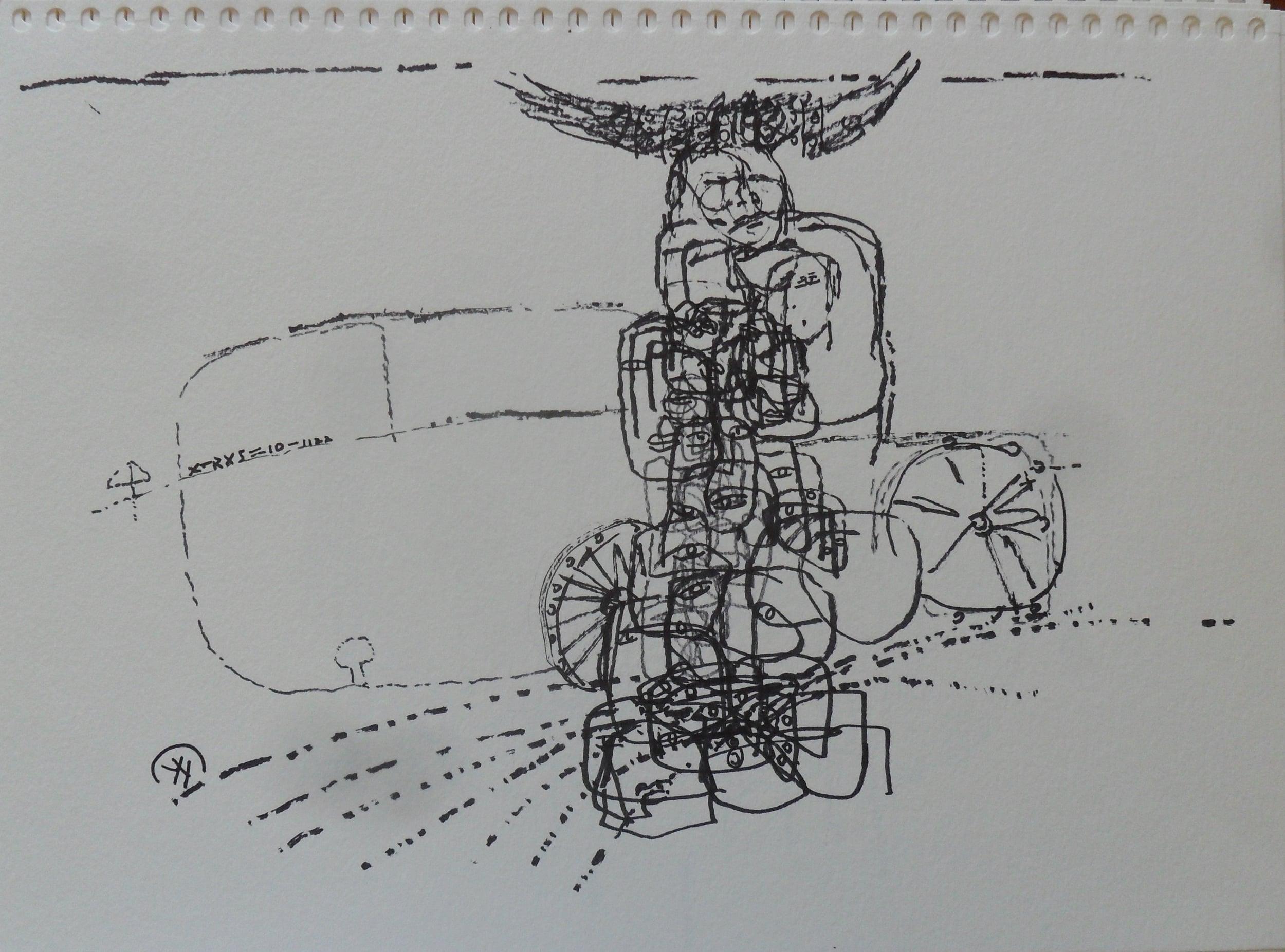 《现代罗汉图》#28纸本15x11英寸2010-2012.JPG