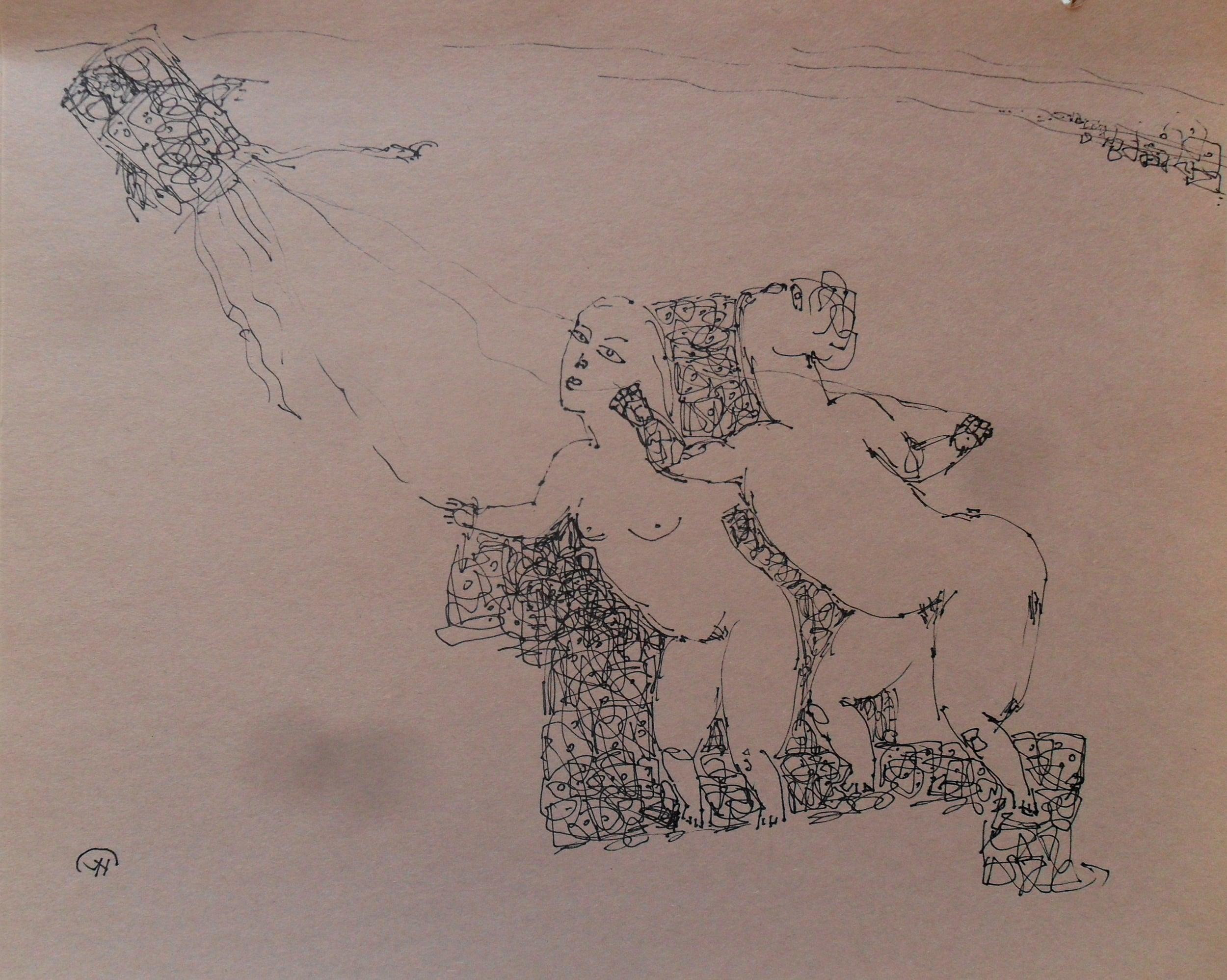 《现代罗汉图》#44纸本15x11英寸2010-2012.JPG
