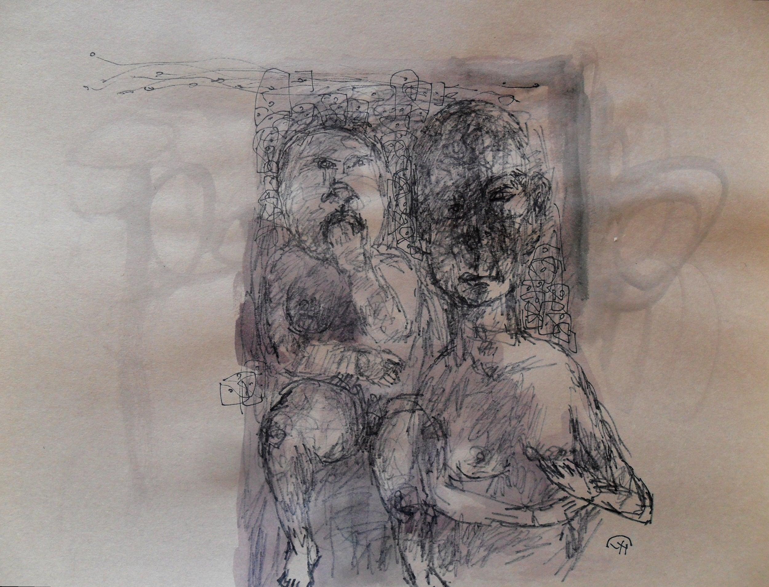 《现代罗汉图》#48纸本15x11英寸2010-2012.JPG