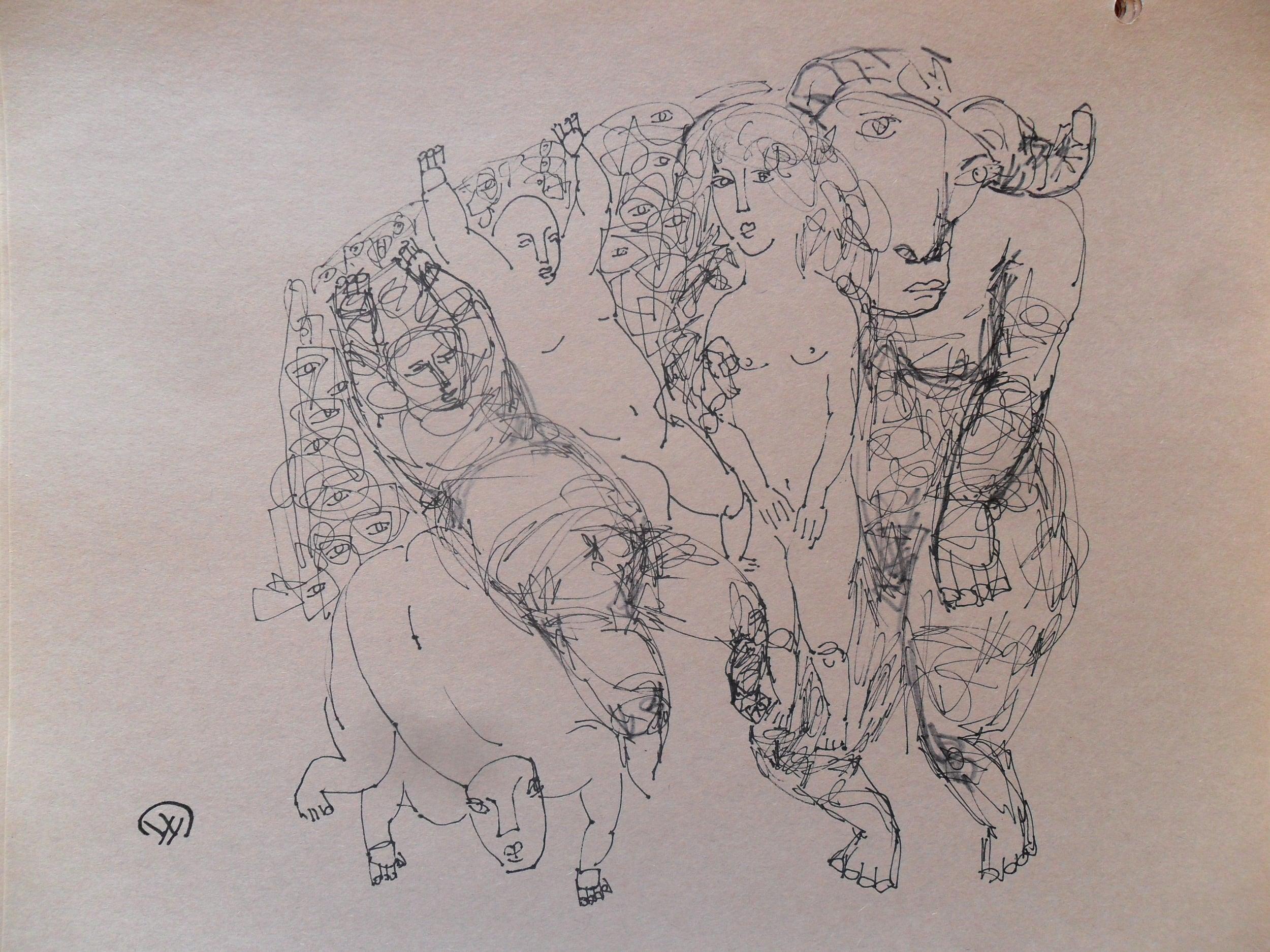 《现代罗汉图》#49纸本15x11英寸2010-2012.JPG