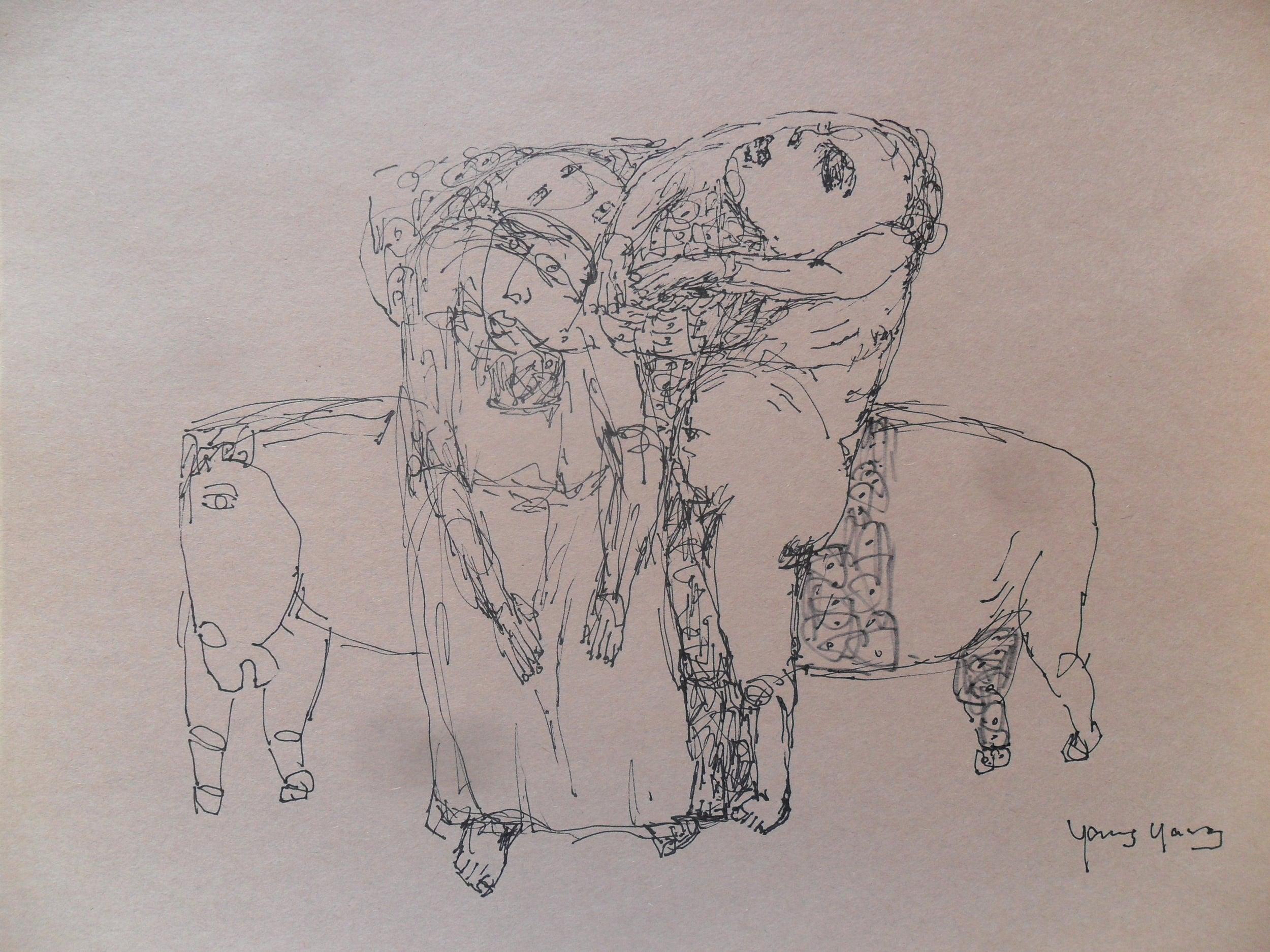 《现代罗汉图》#50纸本15x11英寸2010-2012.JPG