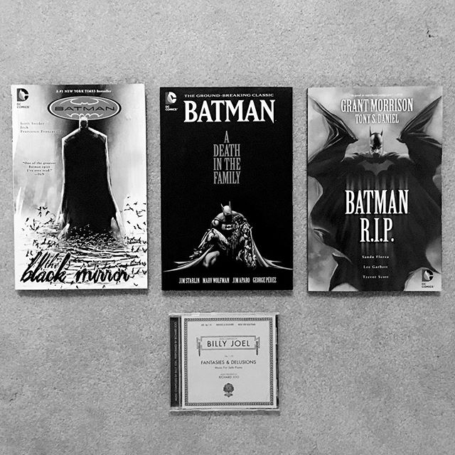 Souvenirs from my trip to Portland. . I don't normally post my nerdy stuff but I couldn't be more excited to add these 3 to my collection of Batman graphic novels. Also a big fan of classical music and Billy Joel so when I saw this in a music shop I couldn't resist.