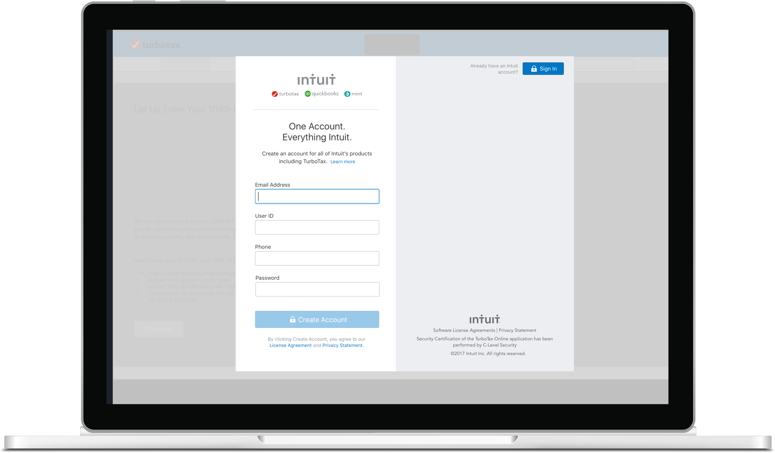 Turbotax Desktop Sign In - The TurboTax desktop application did not have an option for the user to sign in to an Intuit account within the app. My job was to figure out how to implement the sign in button into the existing software.