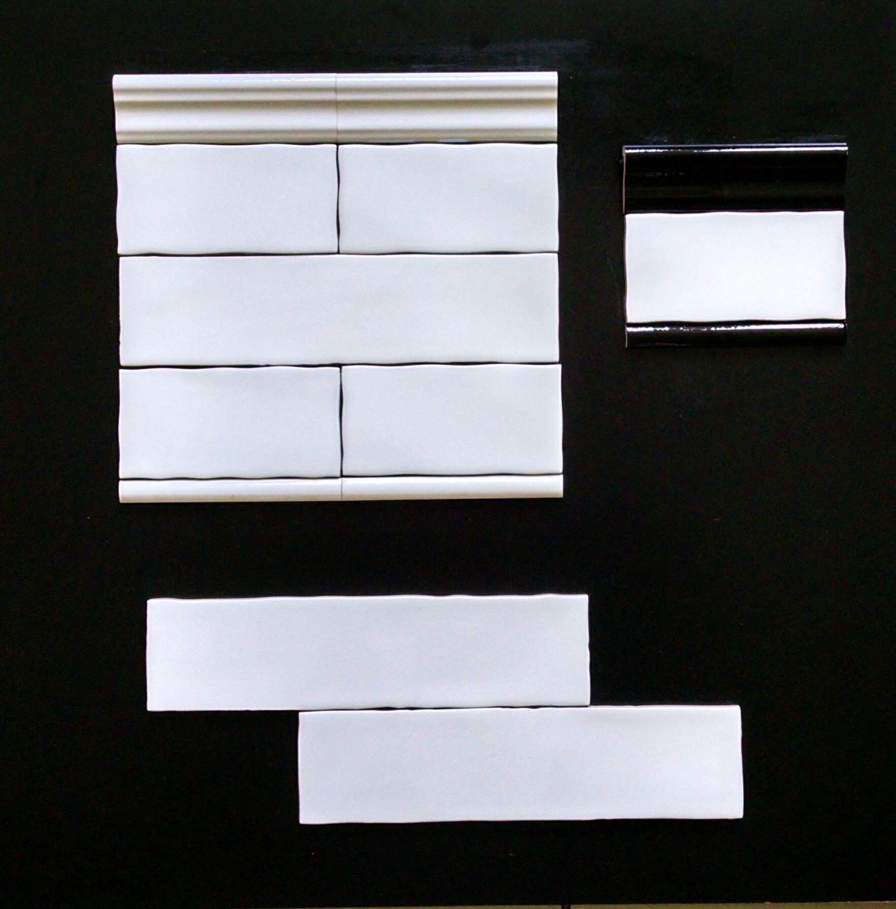 """METRO WHITE   3""""X6"""" - 88 PC/CTN (10.66 SF); 80 CTN/PLT  3""""X12"""" - 44 PC/CTN (10.66 SF); 80 CTN/PLT  3""""X6"""" BULLNOSE  2""""X6"""" CHAIRRAIL  0.75""""X6"""" PENCIL   METRO BLACK  -2""""X6"""" CHAIRRAIL                0.75""""X6"""" PENCIL"""