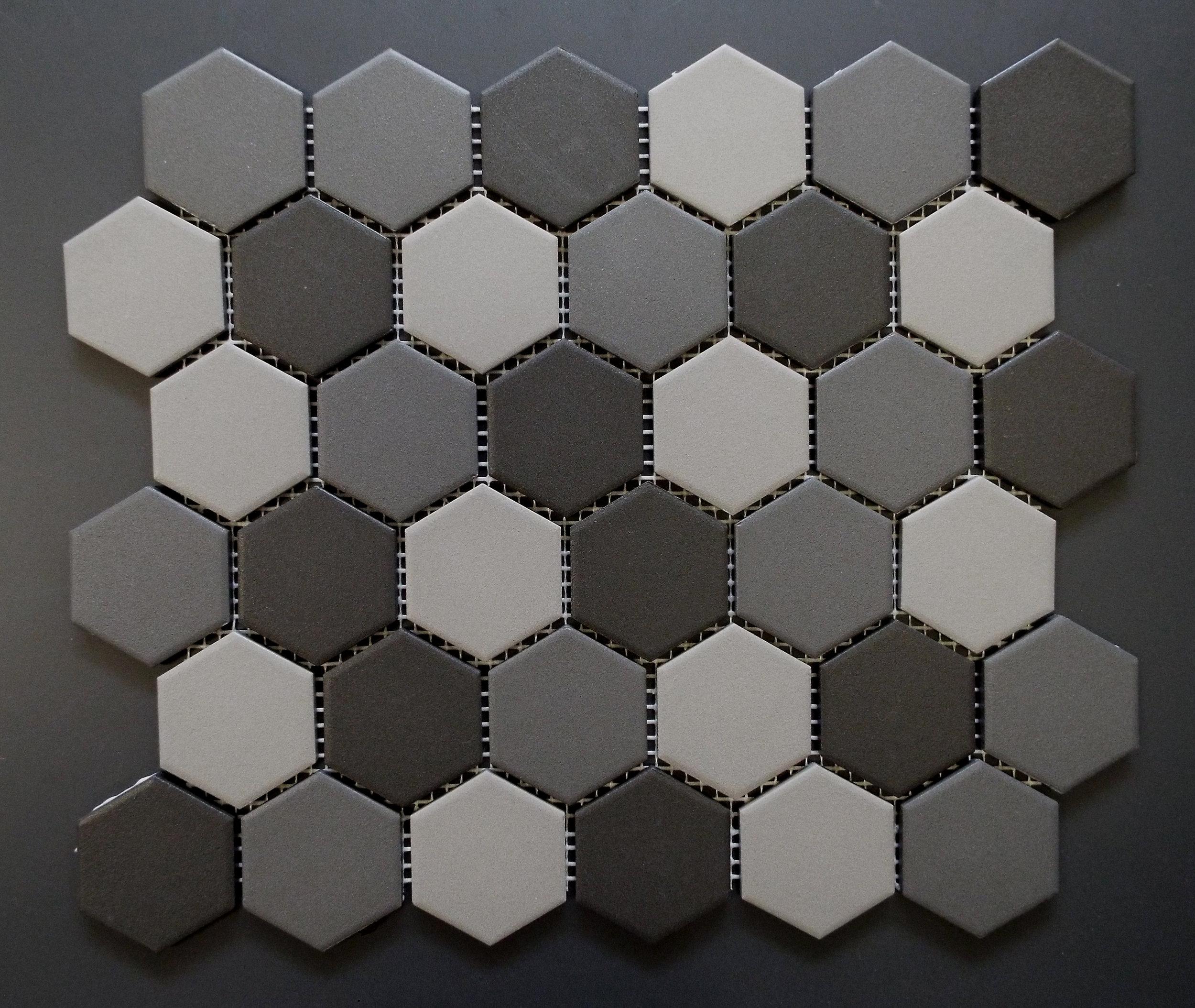 "UNGL HEXMIXD - 2"" HEXAGON Grey Mix   20 PC/CTN (  19.70 SF);  54 CTN/PLT"