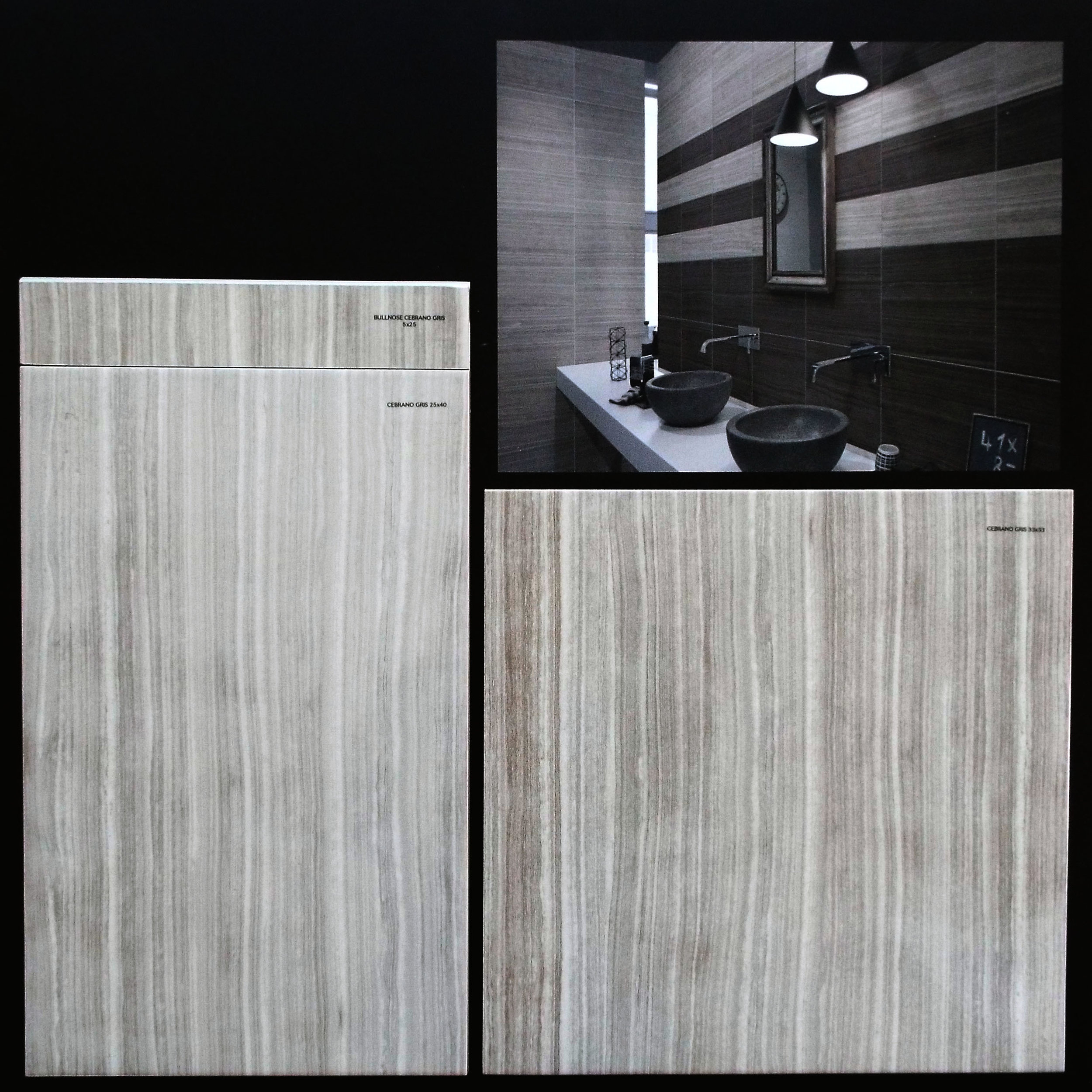 "CEBRANO GRIS  10""X16"" GLOSSY WALL - 15 PC/CTN (16.15 SF); 64CTN/PLT  13""X13"" FLOOR GLOSSY - 14 PC/CNT(16.68 SF); 44CTN/PLT  3""X10"" BULLNOSE AVAILABLE - 44 PC/CTN"