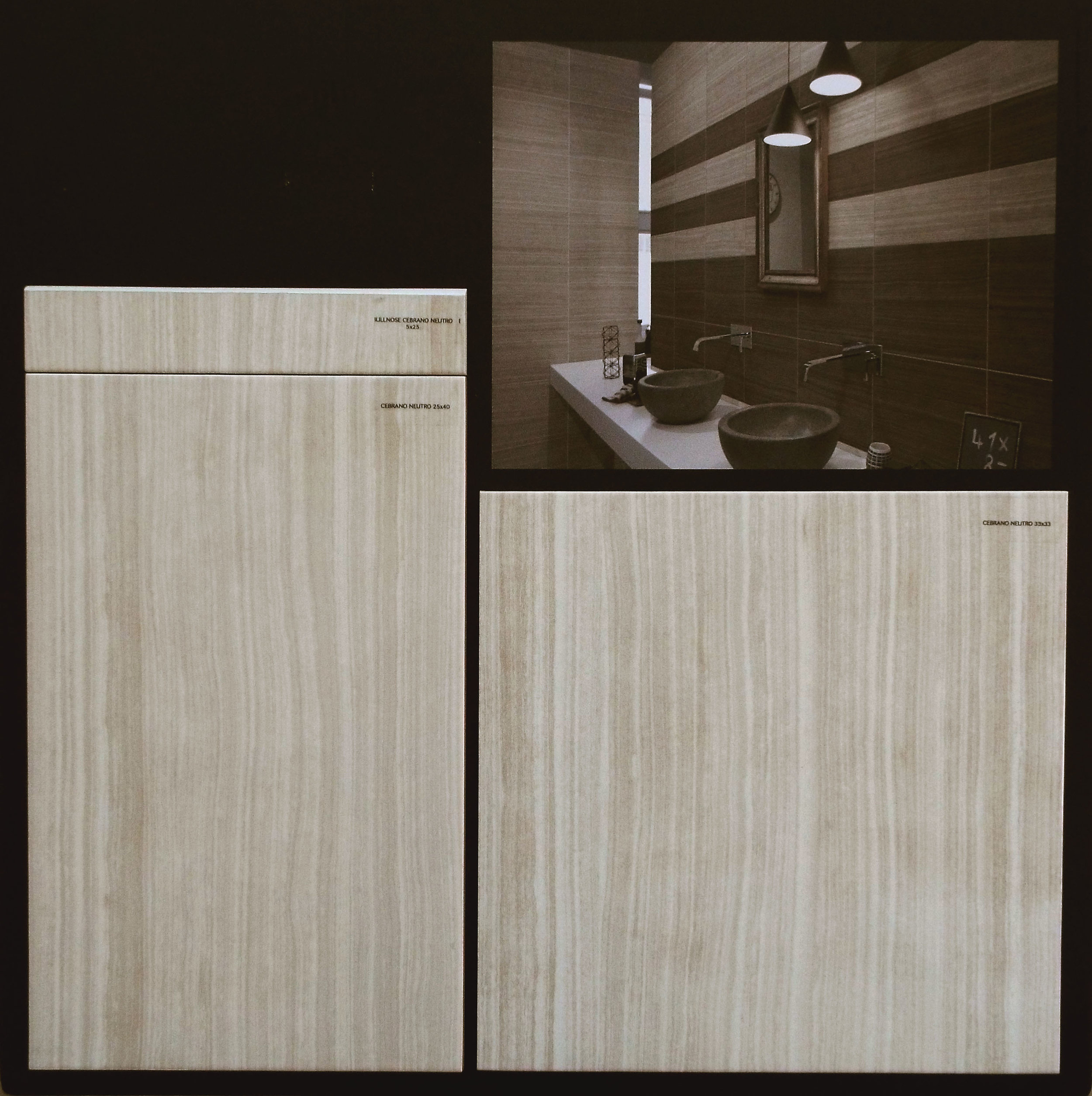 "CEBRANO NEUTRO  10""X16"" GLOSSY WALL - 15 PC/CTN (16.15 SF); 64CTN/PLT  13""X13"" FLOOR GLOSSY - 14 PC/CNT(16.68 SF); 44CTN/PLT  3""X10"" BULLNOSE AVAILABLE - 44 PC/CTN"