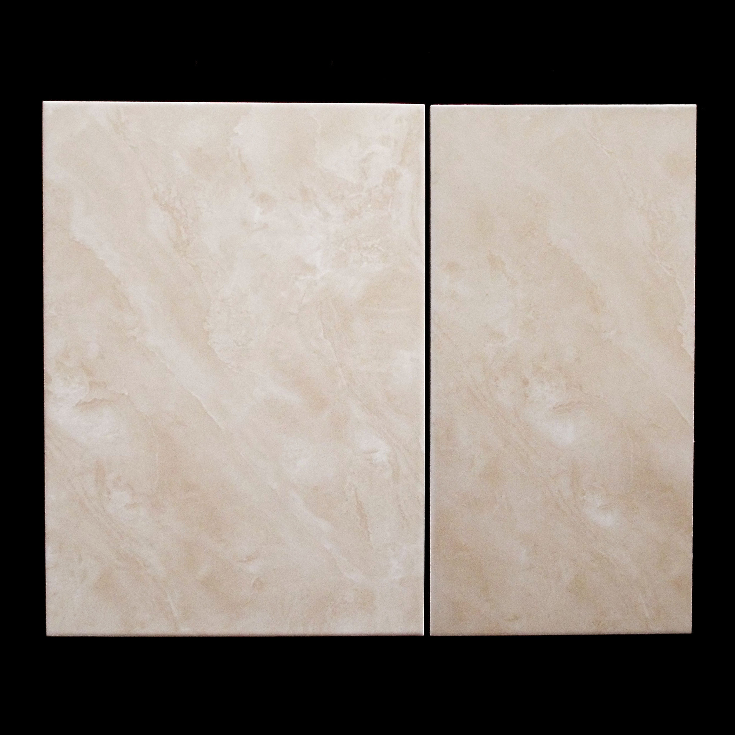 "VITORIA BEIGE  12""X18"" GLOSSY WALL - 14 PC/CTN (21.53 SF); 72CTN/PLT  18""X18"" (1/2 PC SHOWN) GLOSSY FLOOR - 10 PC/CTN (26.91 SF); 64 CTN/PLT   NO BULLNOSE AVAILABLE"