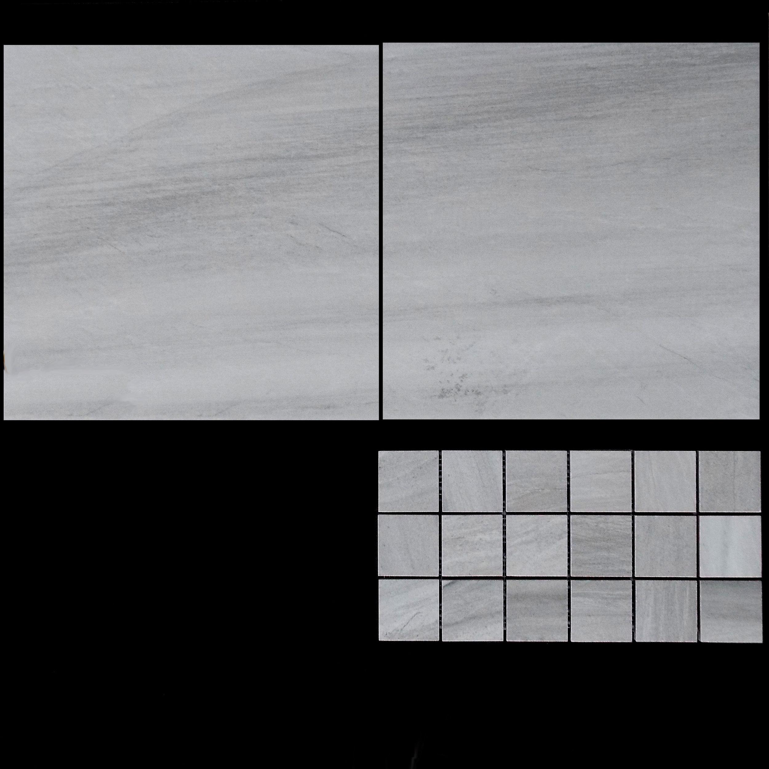 """TOUCH GREY   13""""X13"""" - 9 PC/CTN (10.76 SF); 62 CTN/PLT  2""""X2"""" MOSAIC - 9 PC/CTN (10.76 SF)  12""""X24"""" - 6 PC/CTN (11.63 SF); 40 CTN/PLT"""