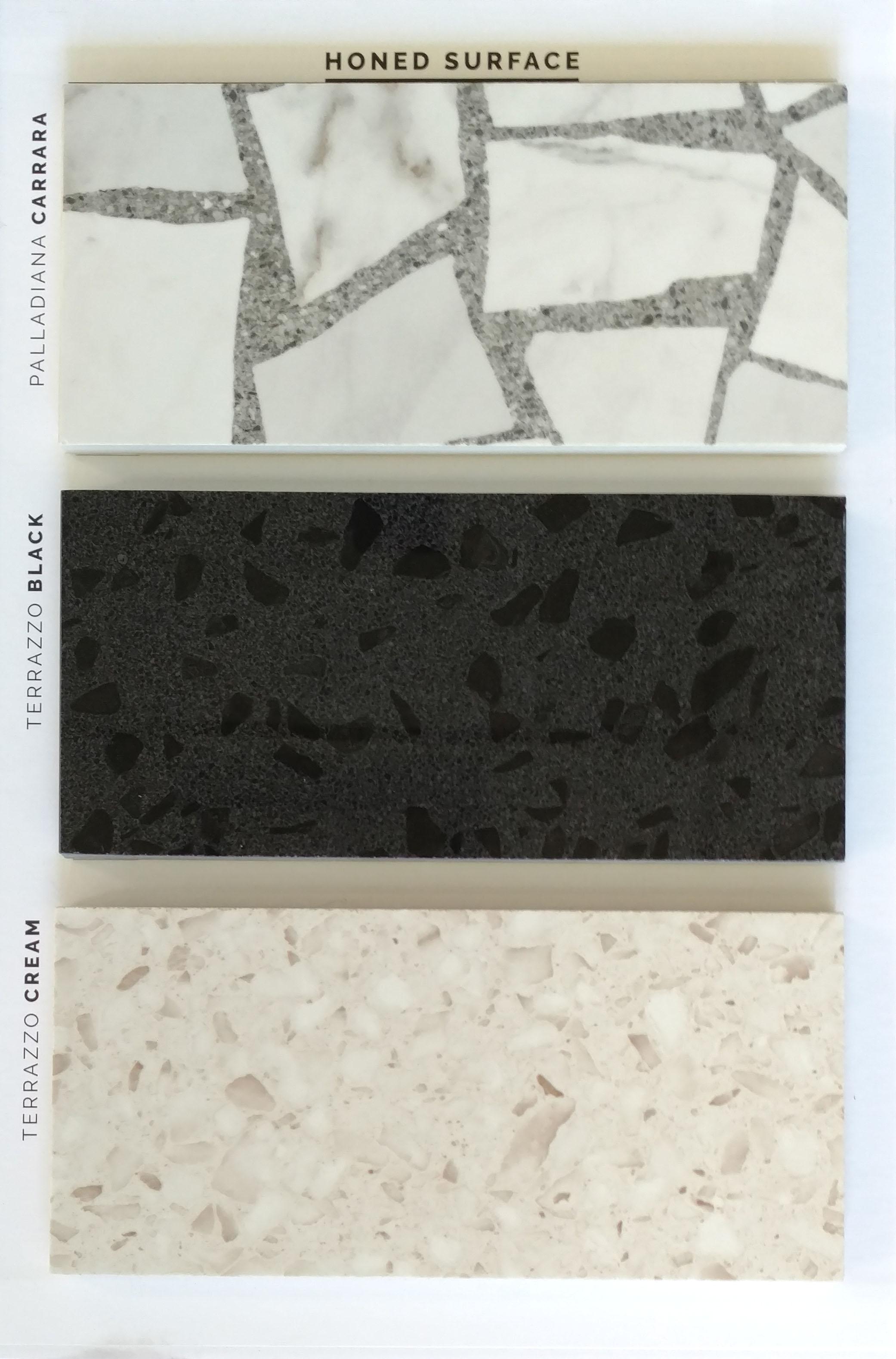 "HONED (Polished)24""x24""    Carrara / Black / Cream  3 PC/CTN (11.63 SF); 40 CTN/PLT  Special order sizes: 12""x24"" / 18""x36"" / 30""x30"" / 30""x60"""