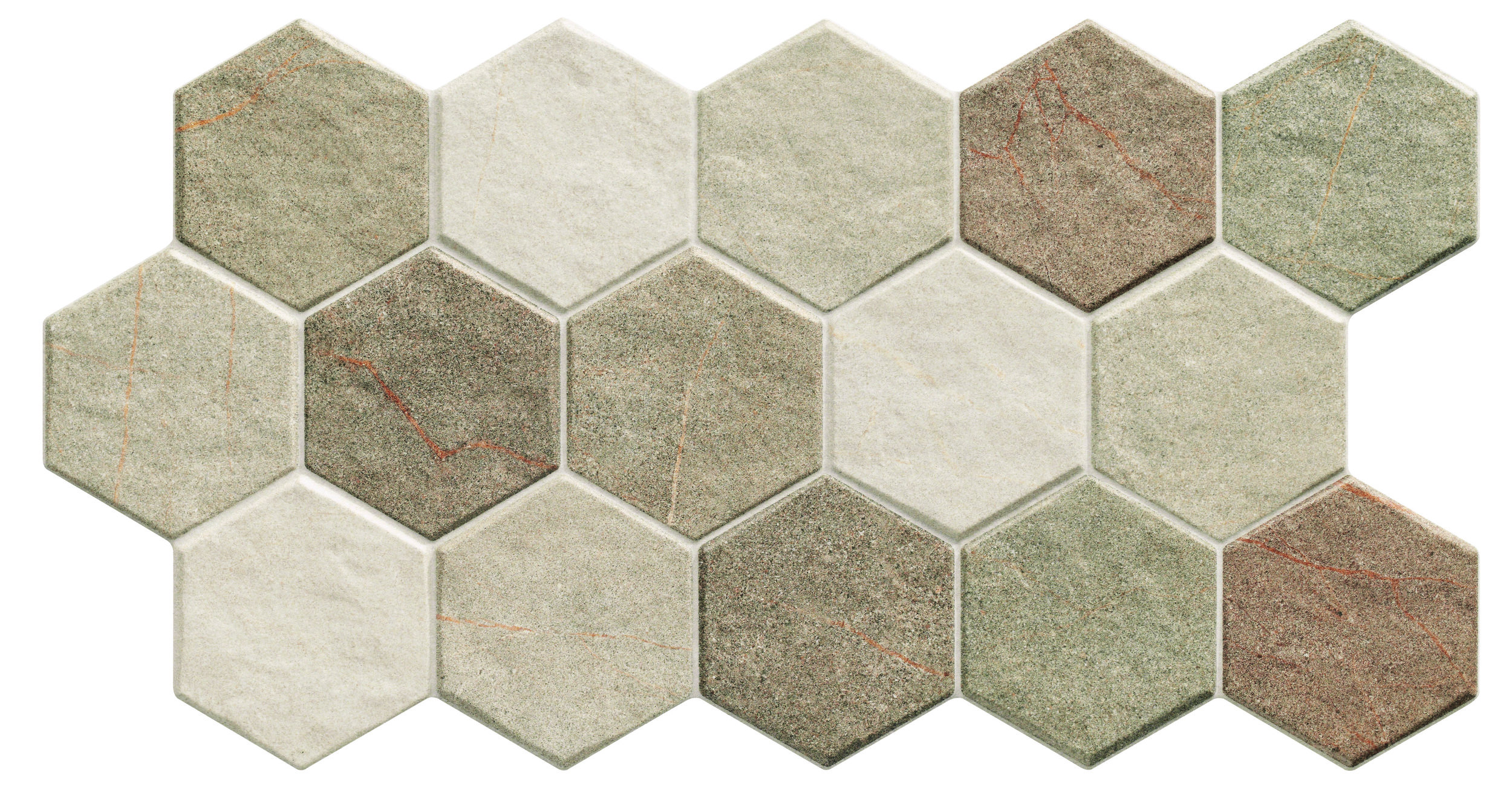 "Realonda Hexagon Earth 10"" x 20""  7 PC/CTN (10.23 SF);48 CTN/PLT"