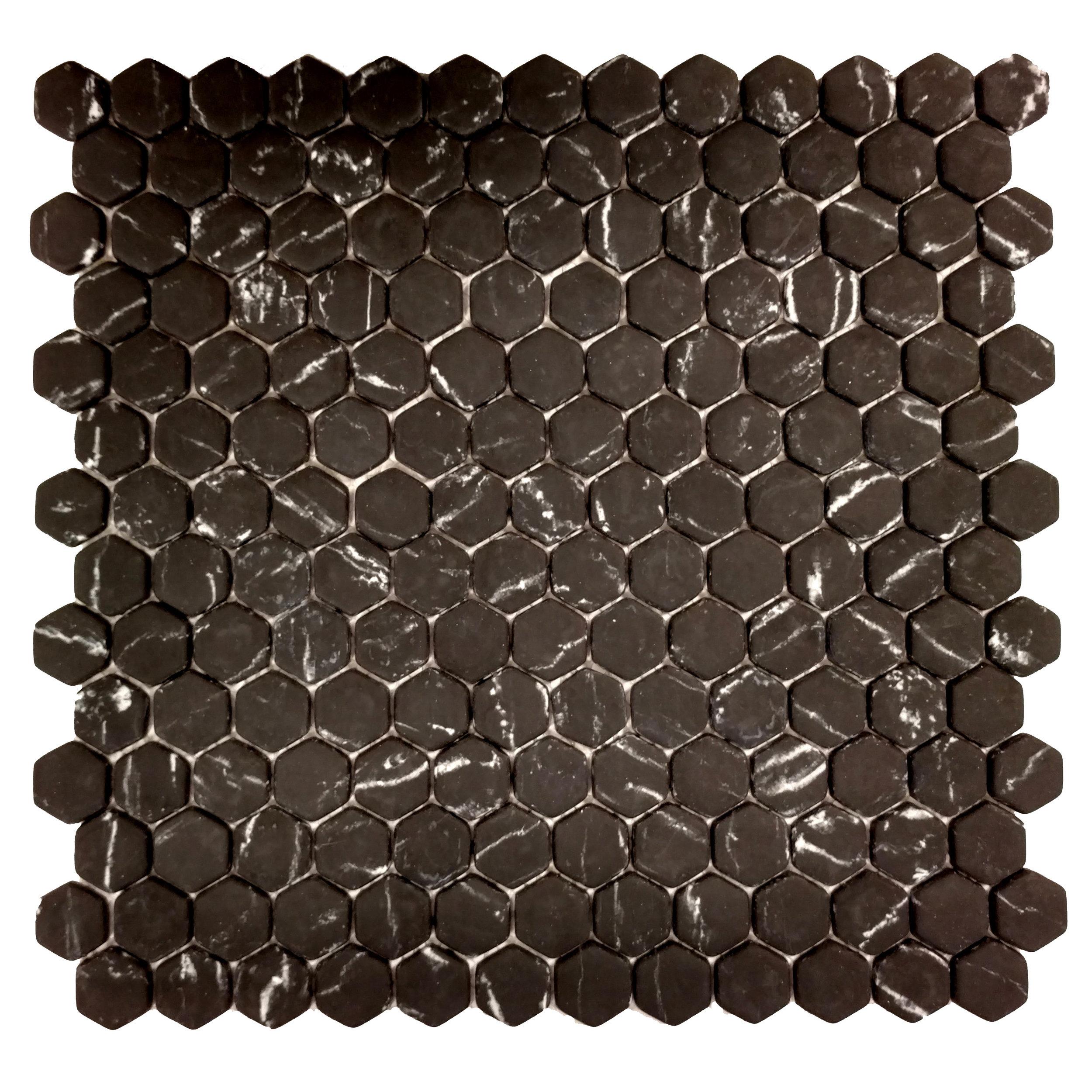 "MICRO CRYSTAL GLASS    7/8"" HEXAGON BLACK  12 PC/CTN (11.73 SF); 72 CTN/PLT"