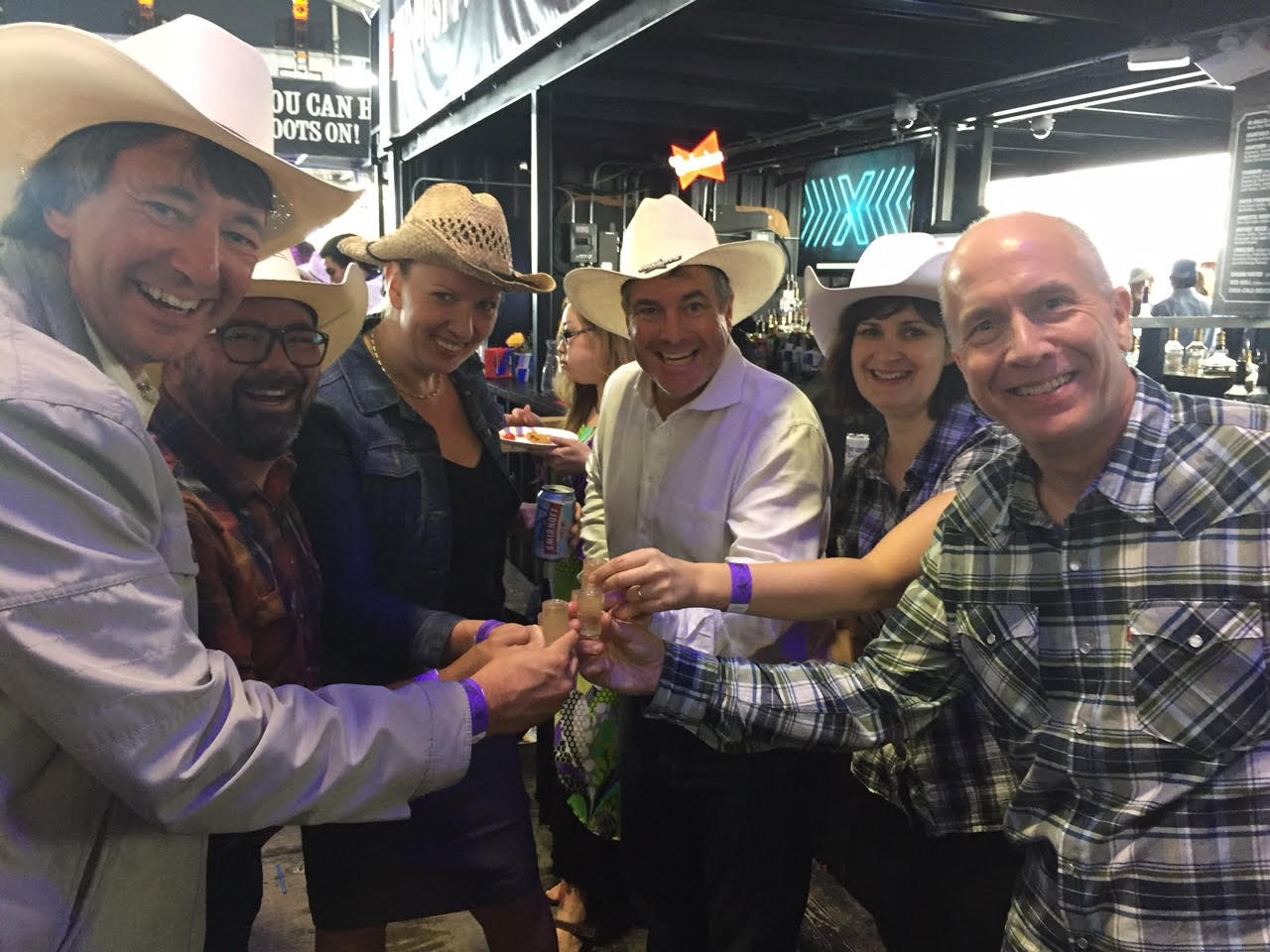 Calgary Stampede party - The OKR Team celebrated the launch of OKR III at our Calgary Stampede party! From the left to right; Jason Neale, Douglas Saxon, Nancy Bacon, Randy Thompson, Amanda Needham and Bill Green.