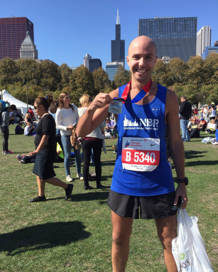 Matt after completing the 2015 Chicago Marathon