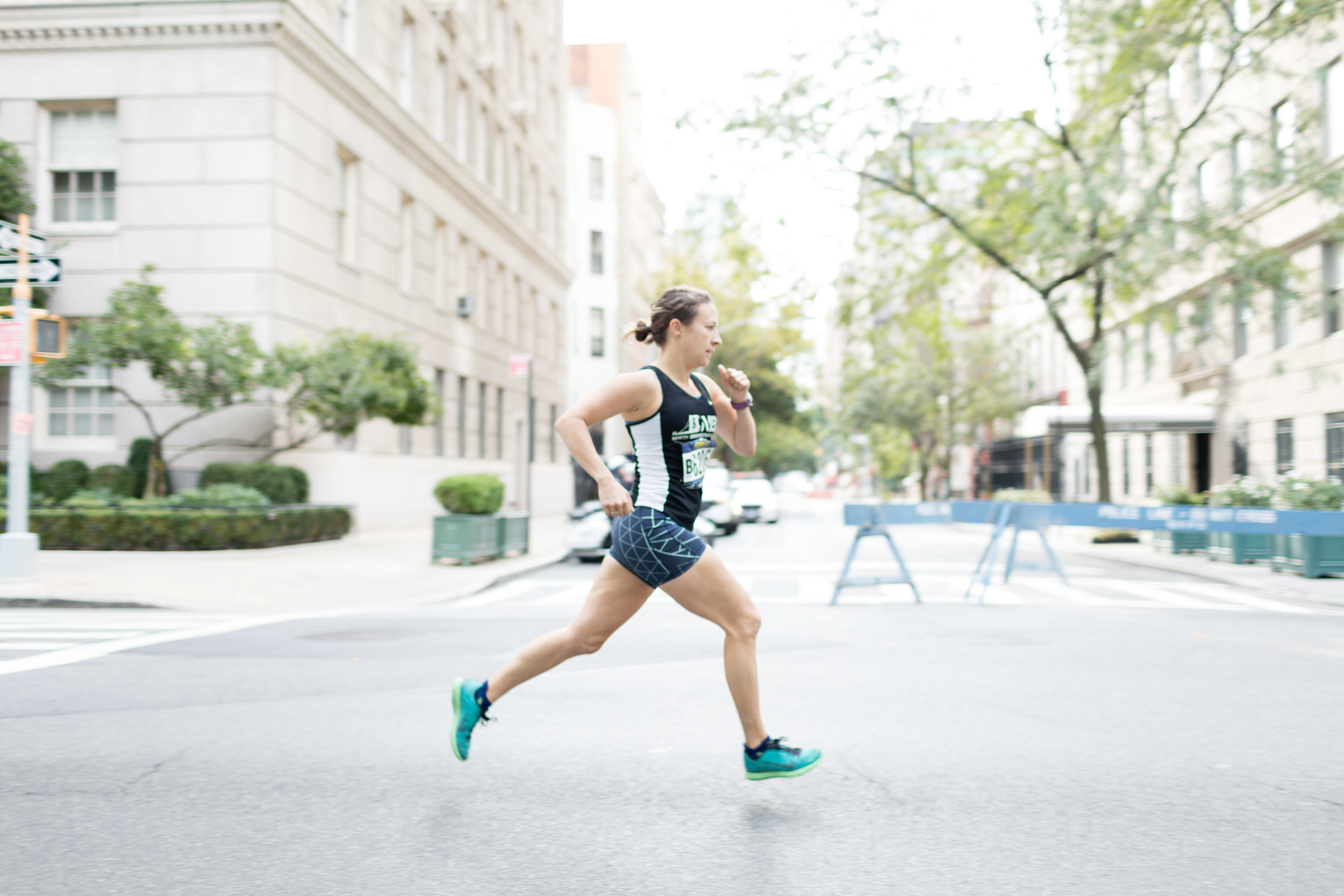 Marie running the Fifth Avenue Mile. Photo by Ken Allen.