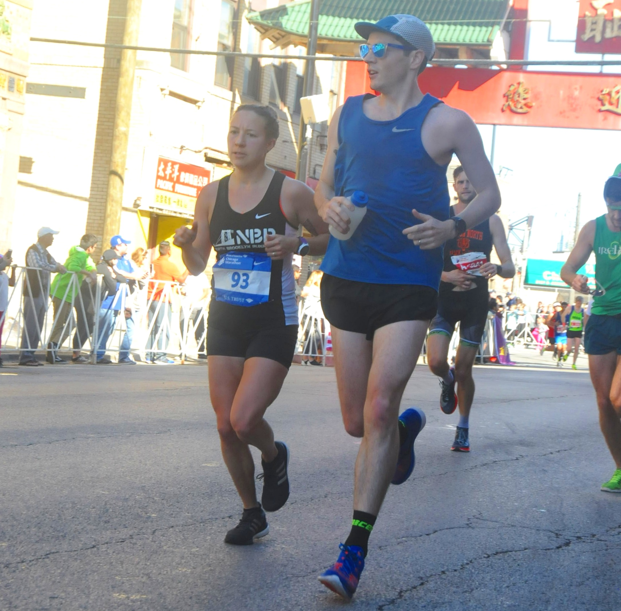 Marie Barnett and Xander Woolverton at the 2017 Chicago Marathon