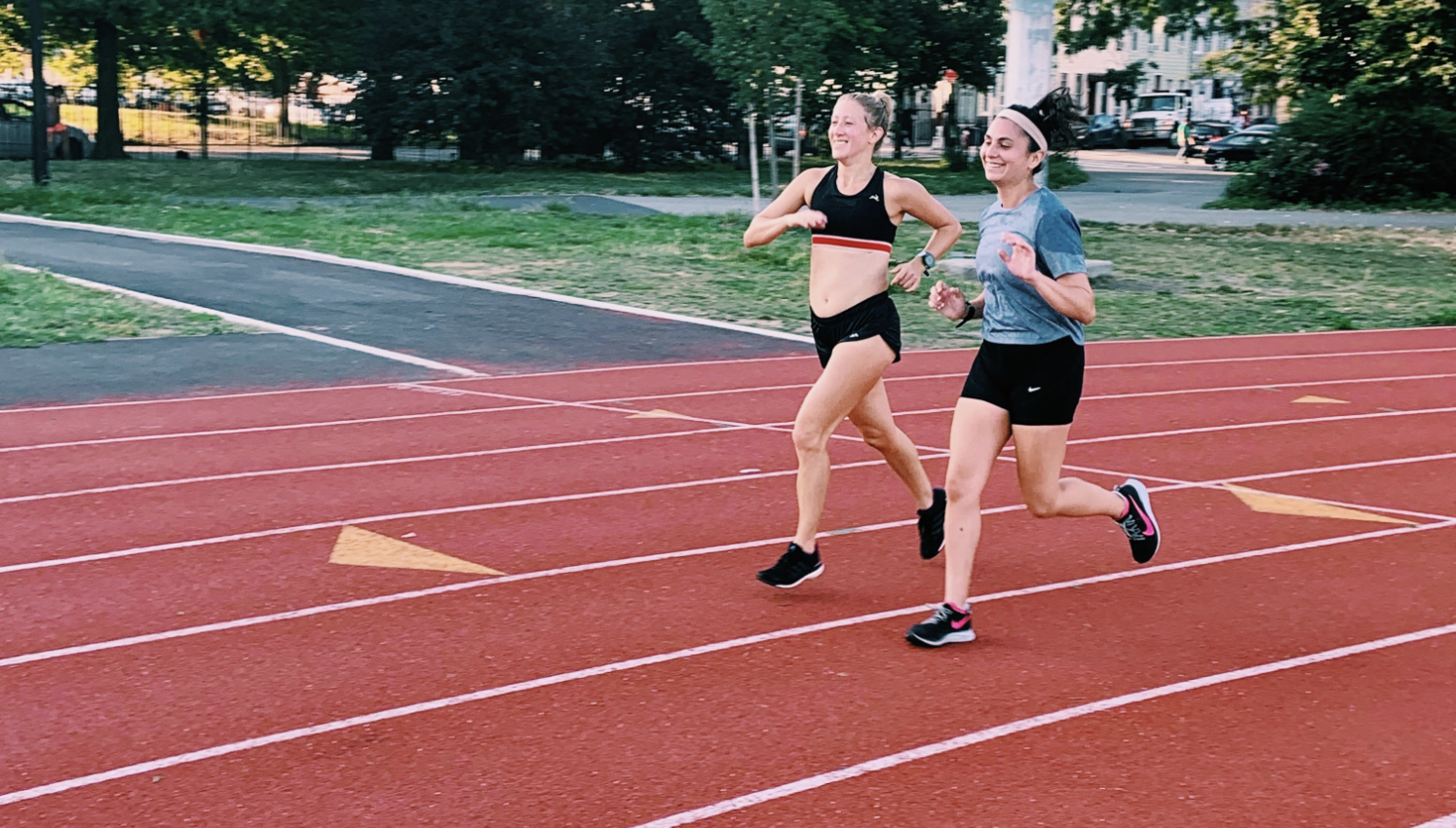 Speed work at the McCarren track with Becca Ades