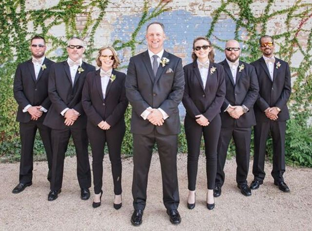 One sharp looking group. #weddingparty #fortworthweddingphotographer #brik #weddingphotos #weddingphotography