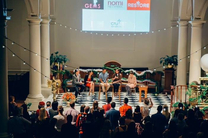 250 young professionals in New York City listen to a panel discussion on human trafficking during Cru's December Party with a Purpose.