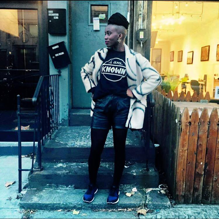 """Yvonne from the """"I am Known"""" campaign sporting the sweatshirt they give to homeless people in Brooklyn."""