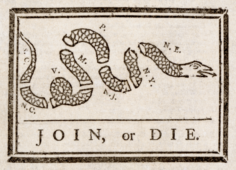 Illustration Benjamin Franklin sent to the colonies during French and Indian War.