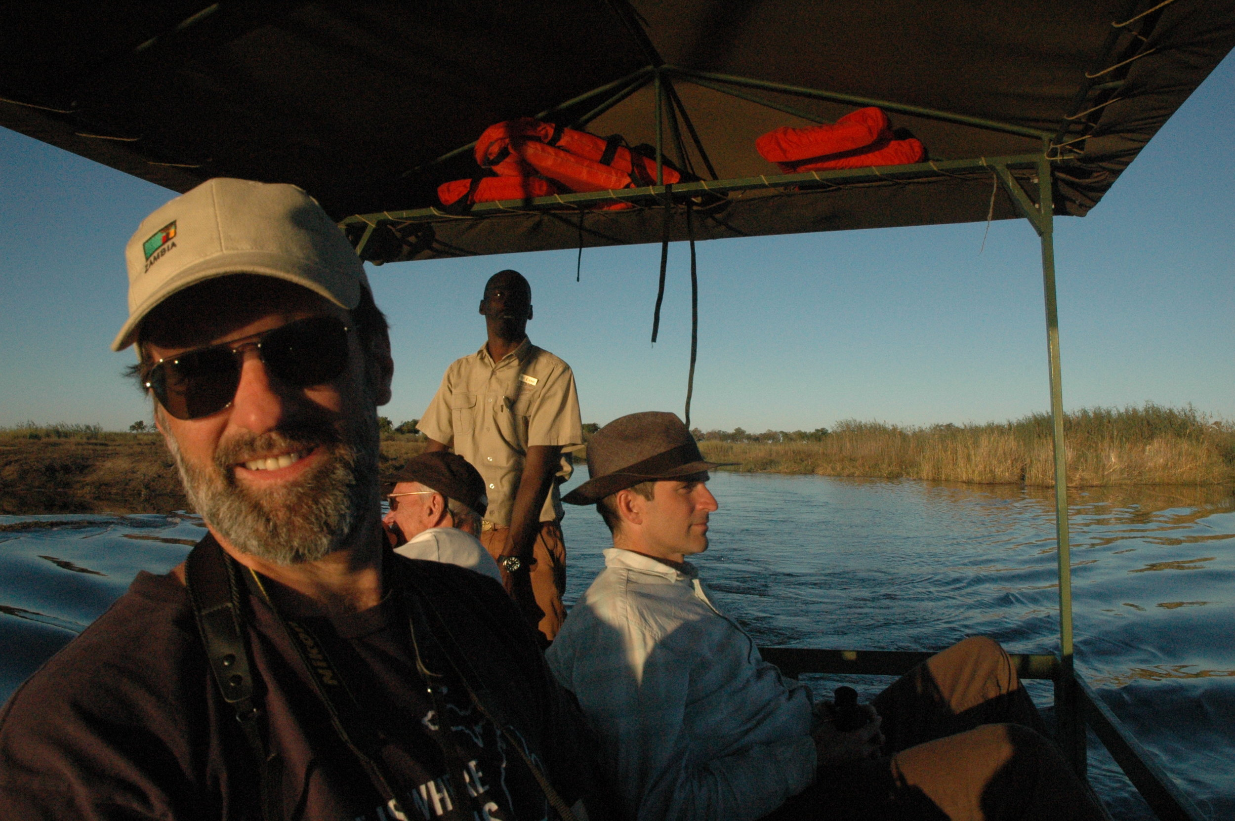 O'Learys on the Linyanti River, Botswana, with Esse, our guide.