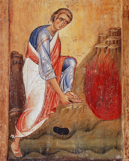 Icon of Moses on Sinai at the Burning Bush, 13th century, St. Catherine's Monastery. Take off thy sandals from off thy feet.