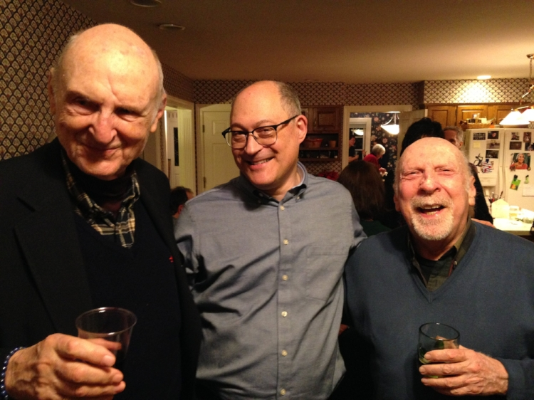Nathaniel Tarn, Norman Finkelstein, and Michael Heller, February 2018, in Louisville, Kentucky (at Alan Golding's house).