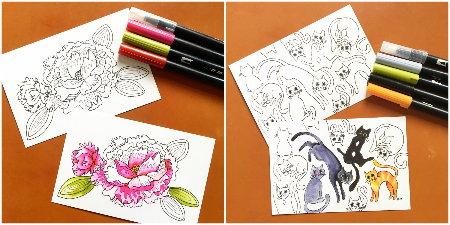 Two of my coloring sessions with the new postcards, using Tombow USA's Dual Brush Pens.