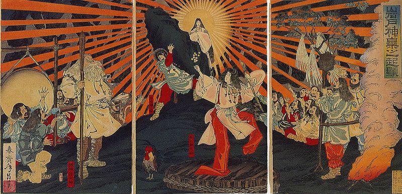 'Shunsai Toshimasa' title: 'Iwato kagura no kigen' - 'Origin of Music and Dance at the Rock Door', date: Meiji 20 (= 1887).