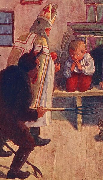 Krampus accompanies St Nick to punish the naughty