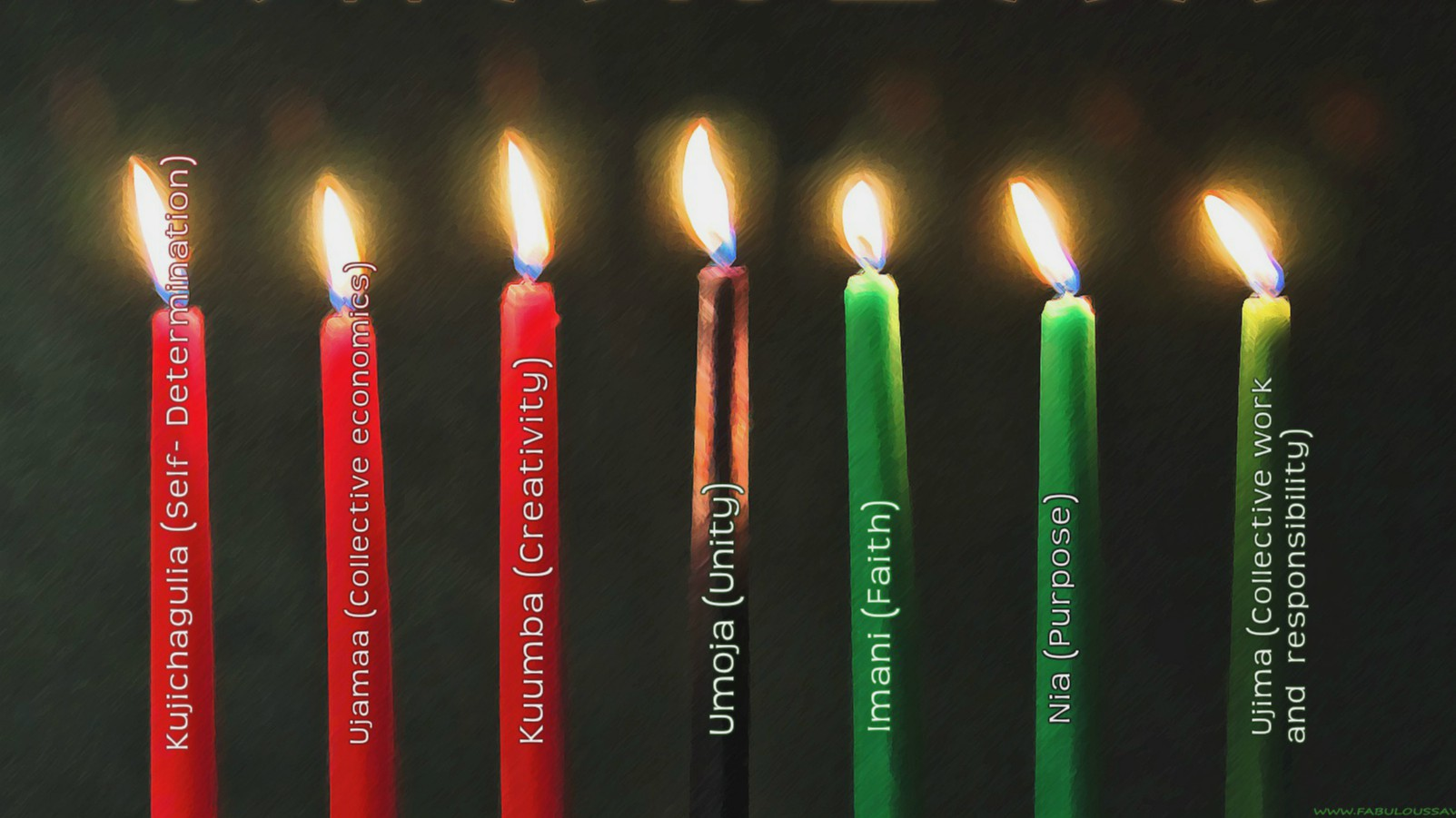 Candles indicating the principles of each day of Kwanzaa- the black candle is lit first to remember that the people come before the struggle