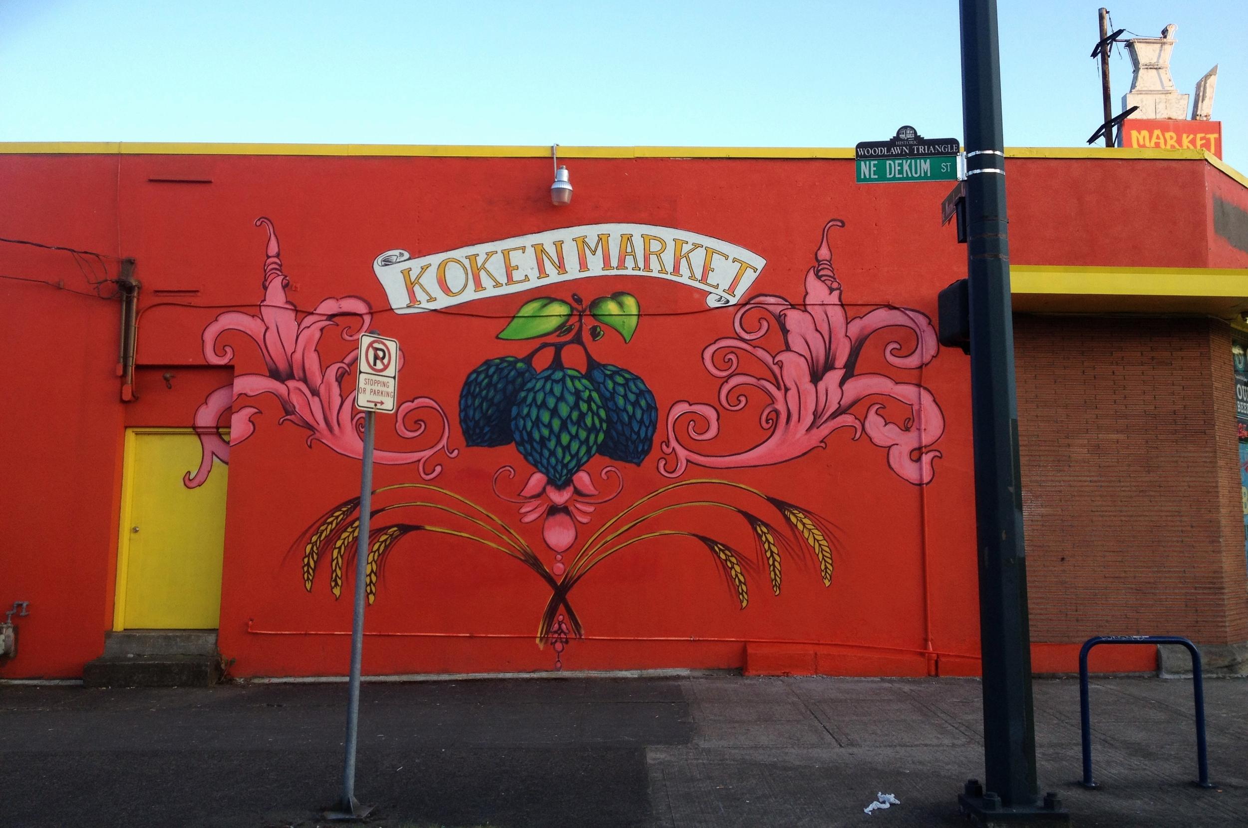 Koken Market mural design. Spray paint. 20' x 40'. 2013.