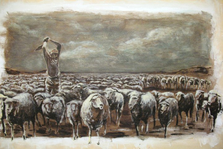 Sheep. Oil on fabric. 2010.