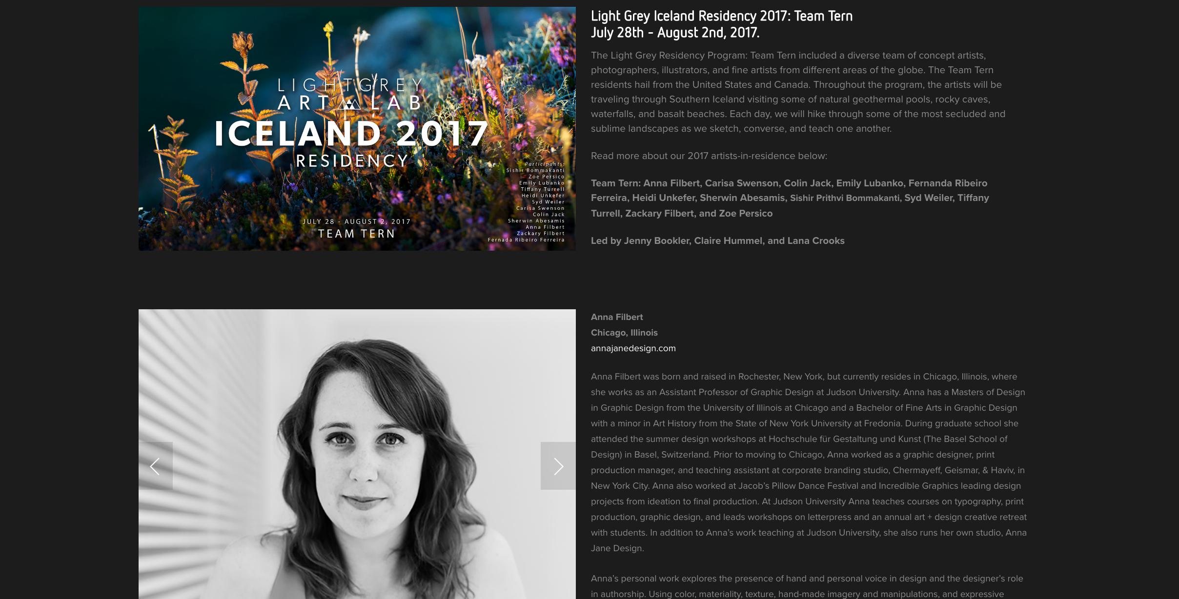 2017 Light Grey Art Lab Iceland Artist-in-Residency, Anna Filbert