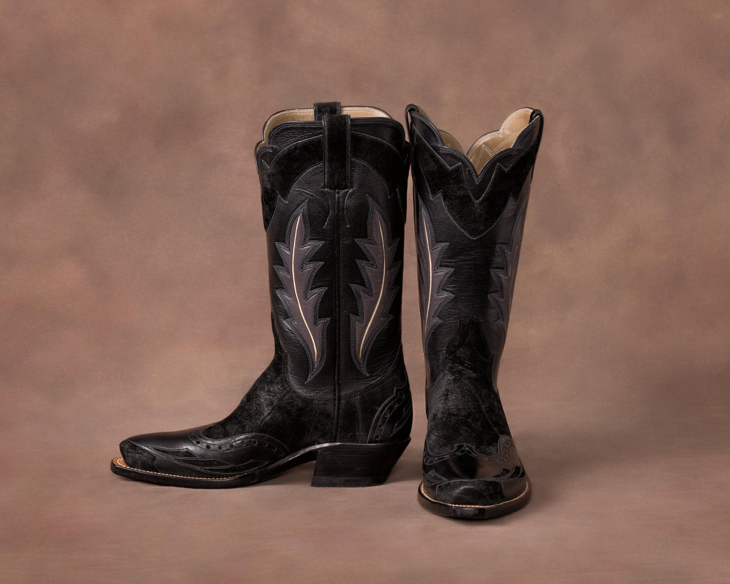 Brand Black Sueded Hippopotamus w/ Italian Kangaroo wingtips and heel caps